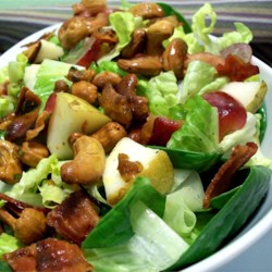 Curried Cashew, Pear, and Grape Salad Recipe and Video - A yummy, healthy salad loaded with nuts, fruit and greens, with the kick of curry and cayenne pepper. My family calls it 'The Good Salad.'