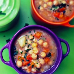 Chickpea Stew Recipe - Chickpea stew, loaded with potatoes, onion, and tomatoes with plenty of seasoning, is a perfect vegetarian meal for cold winter evenings.