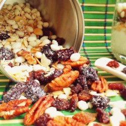 Homemade Muesli Recipe - Make a healthy homemade breakfast cereal with oats, pecans, almonds, dried cherries, and raisins using this recipe.