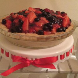 Fresh No-Bake Fruit Pie  Recipe - Fresh strawberries, blueberries, raspberries, and blackberries fill a prepared shortbread pie crust for an easy and refreshing no-bake pie that won't heat up your kitchen. Serve with a dollop of your favorite whipped cream.