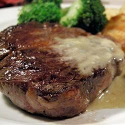 Steaks With Roquefort Sauce Recipe - This recipe came to me when I was doing a Spanish themed party for a Hemingway book. Everyone LOVED the sauce so much I try to make it all the time. However, if you don't like bleu cheese, I wouldn't try it. I also substitute whiskey for the brandy, or any liquor that isn't sweet.