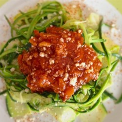 LaDonna's Spaghetti with Sauce Recipe - This is a recipe I made up. I like using all fresh ingredients when in season, like pureed tomatoes for the tomato juice. But it is really good with the canned stuff. I'll make up a bunch and freeze. Makes for a quick meal, just to heat and serve over spaghetti.  Also good for any recipe calling for tomato sauce.