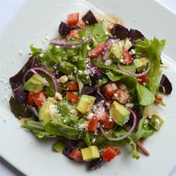 Papa's Favorite Beet Salad Recipe - Beets add a nice sweetness and color to this salad made with spinach, feta cheese, and avocado that is tossed in a light lemon dressing.