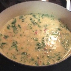 Potato, Leek, and Spinach Soup Recipe - Use the leeks, garlic, potatoes, and spinach from your CSA (community-supported agriculture) box to make this creamy seasonal soup.