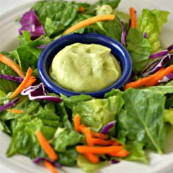 Avocado Dressing Recipe - Avocado dressing made with plain yogurt is a creamy, quick and easy addition to any salad.