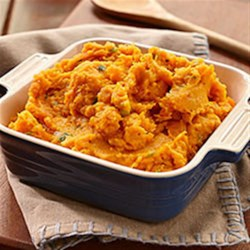 Island Coconut and Sweet Potato Mash Recipe - Jazz up a weeknight dinner with this sweet and savoury side-dish. Instead of marshmallows, coconut whipped cream is the surprise ingredient that replaces traditional butter to make the sweet potatoes light and fluffy.