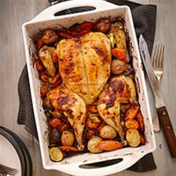 Spice Rubbed Flattened Roast Chicken Recipe - This Moroccan-inspired roast chicken will become your new favourite Sunday night dinner. Making the whole meal in a roasting pan means you can just pop it in the oven and forget about it!