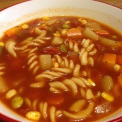 Vegetable Soup I Recipe - A combination of beef broth and tomato sauce is used as a base for this simple soup with potatoes, carrots, onions and celery.