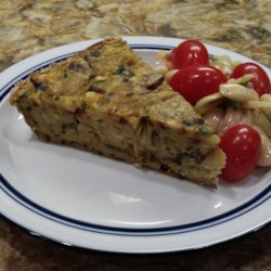 Mushroom Matzo Kugel Recipe - This browned onion and mushroom kugel made with matzo crackers is a favorite dish during Passover.