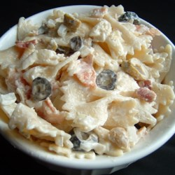 Ranch Pasta Salad Recipe - Combine Cheddar and Monterey Jack cheese with bacon bits, olives, green onions and cooked pasta. Toss with your favorite creamy ranch dressing and chill thoroughly before serving this festive and filling salad.
