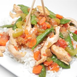 Chicken with Chicharo (Snow Peas) Recipe - Chicken and snow peas are accompanied by tomato, carrot, and celery in a sauce with onion, garlic, and oyster sauce in this Filipino dish.