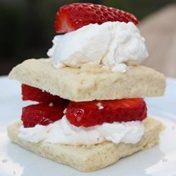 Scrumptious Strawberry Shortcake Recipe - Shortcake made from scratch with butter and cream is topped with sugared strawberries.
