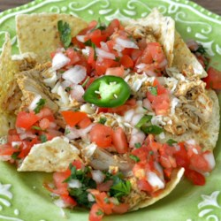 Chicken Enchilada Nachos Recipe - Homemade chicken enchilada sauce flecked with chile peppers is spooned over tortilla chips in this tasty recipe for chicken enchilada nachos.