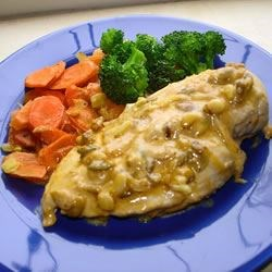 Chicken Papadoris Recipe - A savory coconut-garlic gravy drenches sauteed chicken breasts.  Any leftovers can be spooned into small puff pastries for a delightful appetizer.