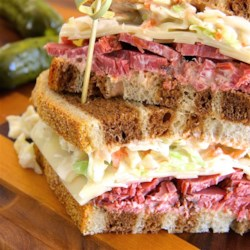 Corned Beef Special Sandwiches Recipe - This sandwich is like a cousin to the reuben. It's a cold sandwich of corned beef, topped with Russian dressing and coleslaw, on Jewish rye.