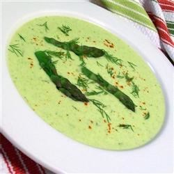 Cream of Fresh Asparagus Soup I Recipe - Asparagus stalks sauteed in butter are pureed and combined with milk to form this soup's base. Finish with blanched asparagus tips and dill weed.