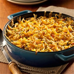 Hash Brown Potato Pie Recipe - Hash brown potatoes are baked with lots of cheese, a hint of heat, and crisp bacon for a guaranteed family-pleasing dish.