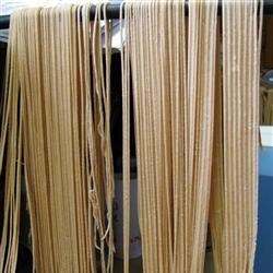 Eggless Pasta Recipe - If you have ever wanted to make your own fresh pasta, this easy recipe shows how semolina flour, salt and water are kneaded into a simple dough, then rolled and cut into shapes. Durum semolina flour may be found at specialty grocers.