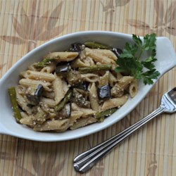 Roasted Eggplant and Asparagus Pasta Salad Recipe - Whole-wheat penne or ziti pasta are tossed with roasted asparagus and eggplant in an easy dressing for a salad that's great as a side dish or appetizer. Chill for at least 3 hours for best flavor.