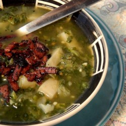 Chilled Kale and Potato Soup Recipe - Kale and potato are gently simmered in a flavorful broth with a bit of smoky bacon. Serve it hot, or chill it for a couple hours for a refreshingly savory soup.