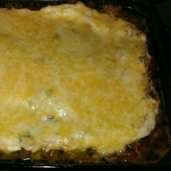 Mexican Beef and Corn Casserole from Country Crock(R) Recipe - Black beans and corn, cooked ground beef, salsa and sour cream are layered in a baking dish, topped with shredded cheese, and baked for a zesty one-dish meal.