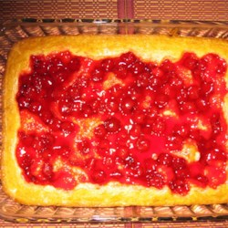 Ukrainian Chereshnyanyk Cherry bars Recipe - Any fresh fruit may be used with this pastry base. For quick and sure results use a canned cherry pie filling. Quick and easy cake, and tasty too.