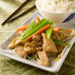 Stir-Fry Pork with Ginger Recipe - A simple Chinese dish. The wine and ginger gives the dish its fragrant smell. Best served with warm rice.