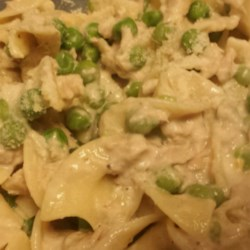 Jacked-Up Tuna Recipe - Named as my husband's favorite dish, egg noodles, tuna, and sour cream make this pasta recipe tasty and quick!