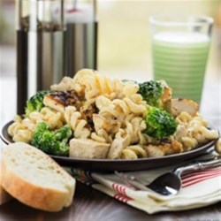 Lemon Chicken & Broccoli Alfredo Recipe - Rotini, chunks of chicken and broccoli florets are tossed in a creamy, lemony Alfredo sauce for a brightly flavored and quick weeknight meal.