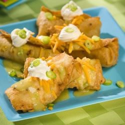 Chicken Chimichangas with Green Sauce Recipe - These chimichangas save time by using leftover chicken, or a cold rotisserie chicken from the supermarket as well as canned items to make the sauce!
