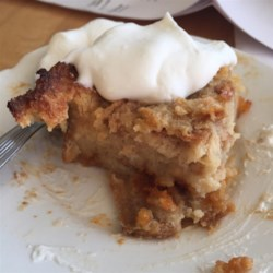 Butterscotch Bread Pudding Recipe - Butterscotch chips and brown sugar are the characteristic ingredients in this baked bread pudding.