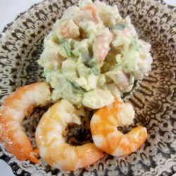 Grandpa Buick's Famous Potato Salad Recipe - A family secret is finally revealed. Grandpa's favorite potato salad, filled with small shrimp and sweet pickles. Let the salad chill at least 3 hours before serving for best flavor.
