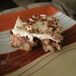 German Apple Cake II Recipe - Apple cake with cream cheese frosting.