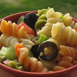 Garden Pasta Salad Recipe and Video - Plenty of fresh, crunchy carrots, celery, cucumber, green pepper and onions are tossed with tomatoes, zesty Parmesan and cooked pasta and coated with your favorite Italian-style salad dressing. Chill and serve this bright and flavorful salad.