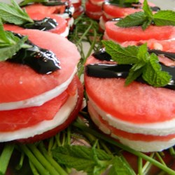 Shrimp Goat Cheese Watermelon Salad Stack Recipe - Shrimp and goat cheese watermelon salad stacks are a refreshing twist on the traditional recipe for caprese salad.