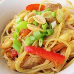 Thai Chicken Spaghetti Recipe - Chicken and vegetables are tossed with spaghetti in a soy sauce-based sauce creating an Asian-inspired meal.