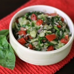Amazing Cucumber Basil Salad Recipe - Cucumber and basil salad with tomatoes and spinach makes its own refreshing dressing after marinating in the refrigerator overnight.