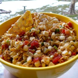 Zesty Dip for Chips Recipe - Thanks to my friend Tina for this recipe. It's so good because it's so different.  If you like corn, green onions and tomatoes, you'll love it!