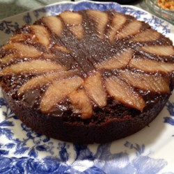 Upside Down Pear Gingerbread Cake Recipe - Flip this gingerbread-flavored, easy cake over to reveal the pretty design of tender, juicy pear slices!