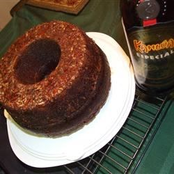 Chocolate Mocha Liqueur Cake II Recipe - A German Chocolate Bundt cake, coated with ground pecans and well imbibed with coffee liqueur.