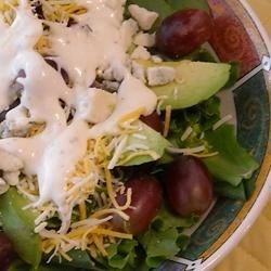 Blue Cheese, Avocado, and Grape Salad Recipe - This fast and fresh spring or summer salad brings together a wonderful variety of textures and flavors. This is a refreshing recipe for a hot day!