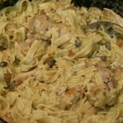 Simple Chicken Stroganoff Recipe - Tender chicken breasts are baked with a simple blend of cream of mushroom soup, sour cream, and Worcestershire sauce to make a comforting sauce for egg noodles.