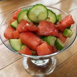 Cucumber-Watermelon Salad Recipe - This cool, refreshing summer salad is oh so delicious! Sweet and tangy at the same time.