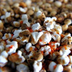 Spicy Popped Sorghum Recipe - Sorghum popped in chili oil is a new twist on spicy popcorn. Add a little cinnamon and sugar for a sweet and savory treat.