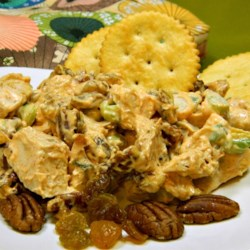 Holiday Chicken Salad My Way Recipe - Chicken salad with raisins, pecans, and water chestnuts is perfect served on crackers, bread, or all on its own.