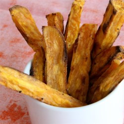 Roasted Sweet Potato Fries Recipe - Roasted sweet potato fries are quick and easy to prepare using 3 simple ingredients; serve alongside your favorite sandwich.