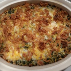 Grandma's Spinach Souffle Bake Recipe - Spinach combined with two types of cheese, seasoned with nutmeg and baked to create this simple side dish.  The whole family will enjoy eating spinach this way.