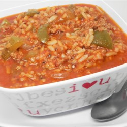 Stuffed Green Pepper Soup Recipe - This recipe takes elements of stuffed green peppers such as ground beef, rice, and tomato sauce, and turns them into a hearty soup.