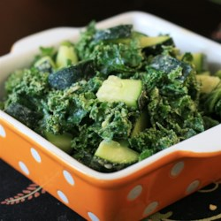 Simple Kale Salad Recipe - Kale and cucumber are tossed in a spicy, avocado dressing in this quick and simple kale salad recipe.
