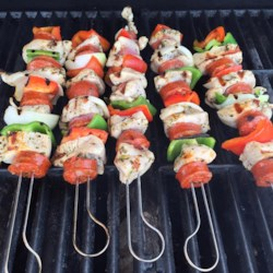 Chorizo and Chicken Skewers Recipe - Spice up your usual chicken kabobs with Chef John's recipe for chorizo and chicken skewers - the perfect way to grill this summer!
